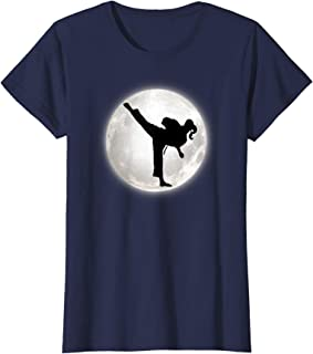 Taekwondo girl in the moon T-shirt for girls The Kick