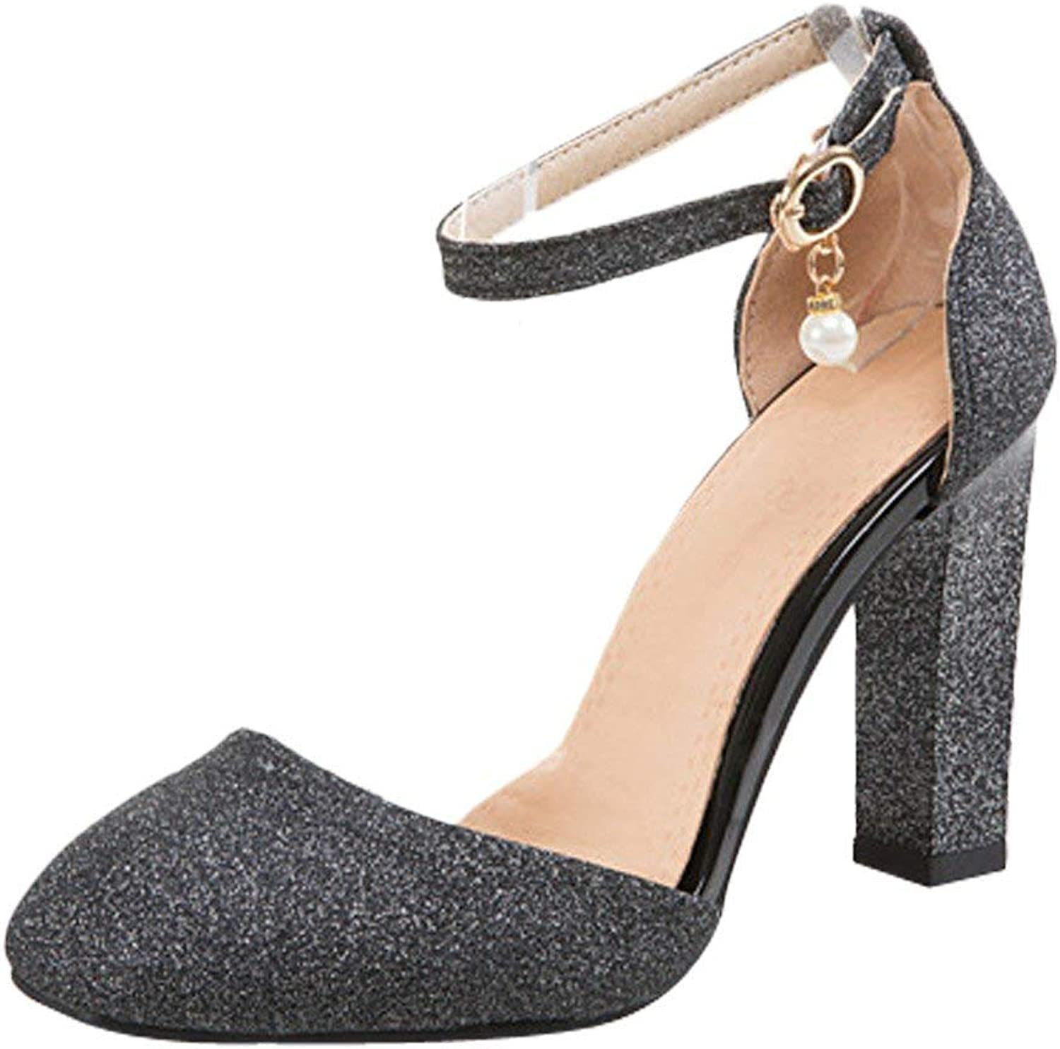Gcanwea Women's Chunky High Heel Ankle Strap D'Orsay shoes Sexy Ladies Dress Simple Sequins Fashion Square Toes Breathable Summer Comfortable Skinny Elegant Silver 7.5 M US shoes