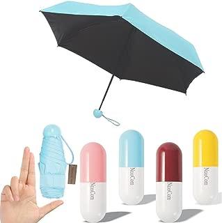 NEWCOM Ultra Lights and Small Mini Umbrella with Cute Capsule Case,5 Folding Compact Pocket Umbrella(Blue)