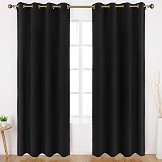 HOMEIDEAS Blackout Curtains for Bedroom 52 X 84 Inch Long 2 Panels Set Black Room Darkening Curtains/Drapes, Soundproof Th...