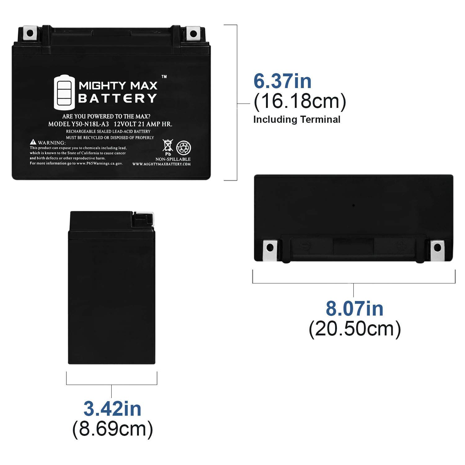 Y50-N18L-A3 - 12V 21AH 350 CCA - SLA Power Sport Battery - Mighty Max Battery Brand Product, Model: 3498186