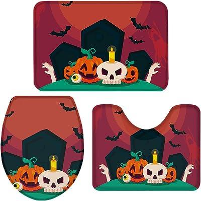 3 Pieces Halloween Bathroom Rugs Set, Anti-Slip Bath Rug Absorbent Bath Mats Contour Mat and Toilet Lid Cover, Perfect Carpet for Tub, Shower, Bath Room, Cartoon Pumpkins Skull Bats in the Cemetery