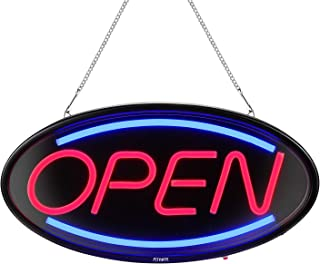 Neon Open Sign,19x10inches FITNATE Super Bright Neon Open Sign for Business, Light Bar Advertisement Board Electric Display Sign, 3 Lighting Modes Flashing,Go-Round & Steady, for Window, Shop, Bar