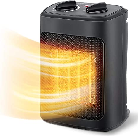 Aikoper Space Heater, 1500W Electric Heaters Indoor Portable with Thermostat, PTC Fast Heating Ceramic Room Small Heater with Heating and Fan Modes for Bedroom, Office and Indoor Use: image