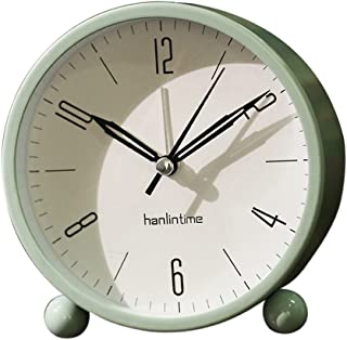Flameer Silent Alarm Clock Kids Students Bedroom Bedside Desk Analogue Alarm Clock - Green, 10.5x11cm