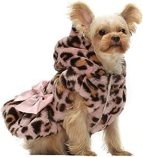 Fitwarm Fluffy Faux Fur Leopard Dog Coats Pet Jackets Cat Winter Clothes Hoodies Pink