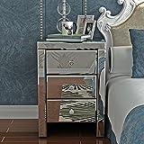Yulie Table de Chevet Miroir Meuble de Rangement en Verre Cristal avec 3 Tiroirs pour Salon Chambre Commode Bureau 30x 30x 60 cm