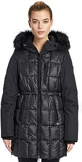 Noize Elle Women's Winter Coat, Mid Length Quilted Jacket, Faux Fur Trim