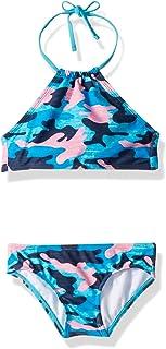 Kanu Surf Girl's Ruby Chevron Halter Bikini Beach Sport 2-Piece Swimsuit Bikini Set