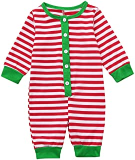 Family Romper Pajamas Set Women Men Kids Small Strip Family Matching