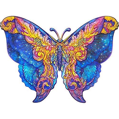 Unidragon Wooden Puzzle Jigsaw, Best Gift for Adults and Kids, Unique Shape Jigsaw Pieces Intergalaxy Butterfly, 12.6 x 9 inches, 199 Pieces, Medium