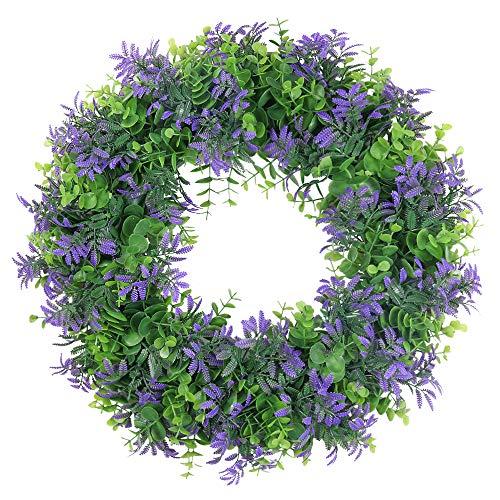 SHACOS Türkranz Frühling Blätterkranz Buchsbaumkranz Künstlich Kranz 43cm Dekokranz Natur Klein Kranz für Tür, Draußen, Garten, Bauernhaus
