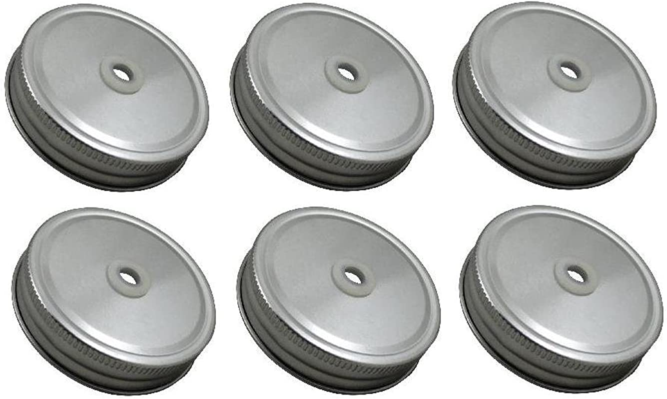 Sunshine Mason Co Lids With Straw Hole 6 Pieces Silver