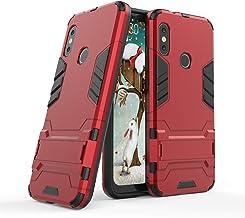 Funda Xiaomi Mi A2 Lite, Funda 2in1 Dual Layer 360° Full Body Anti-Shock Protección Silicona TPU Bumper y Duro PC Armadura con Soporte y Desmontable Carcasa para Xiaomi Mi A2 Lite, Rojo