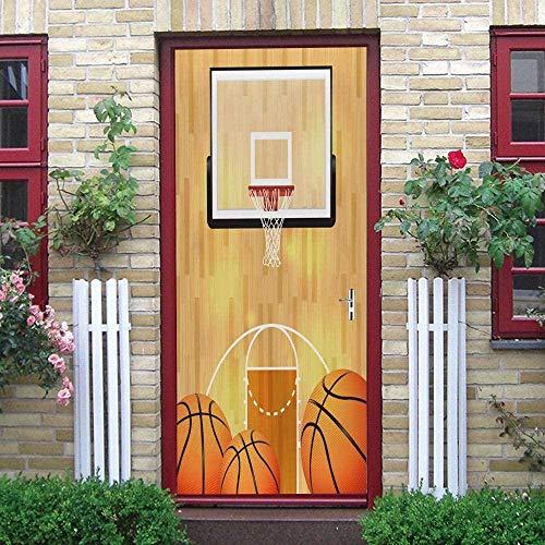 Ejiawj Door Stickers 80 X 200 cm Dibujos Animados Amarillo Deportes Baloncesto 3D Habitaciones De Vinilo Autoadhesivo Impermeable Etiqueta De La Puerta Papel Tapiz Murales Murales Pegatinas Carteles