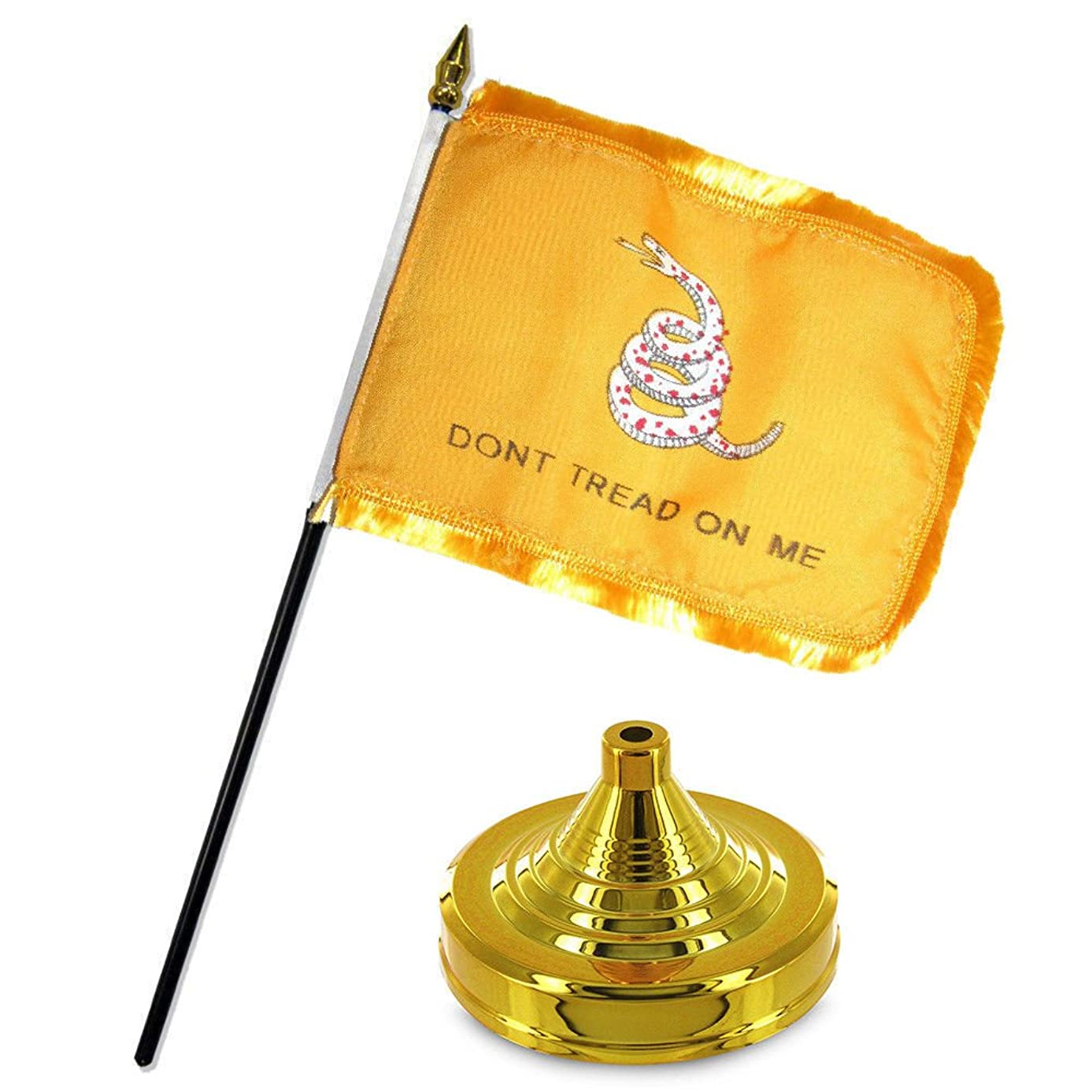 ALBATROS Historical Gadsden White Snake Gold Fringe Flag 4 inch x 6 inch Desk Set Table with Gold Base for Home and Parades, Official Party, All Weather Indoors Outdoors