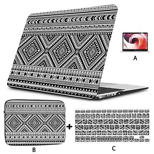 13 Inch Laptop Case Black And White Tribal Seamless Wit Macbook Pro 15 Case Hard Shell Mac Air 11'/13' Pro 13'/15'/16' With Notebook Sleeve Bag For Macbook 2008-2020 Version