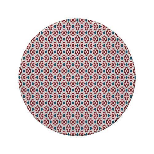 Rutschfreies Gummi-rundes Mauspad, Küchendekor, Blumenfliesen Vintage-Muster Nahtloses Dekor Polkadots und Blumen Einfache Grafik, Rot Blau Weiß, 7,87 'x 7,87' x 3 mm