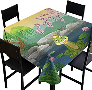 SKDSArts Thanksgiving Tablecloth King,Fairytale Inspired Cute Little Frog Prince Near Lake on Moss Rock with Flowers Image, Multicolor,W50 x L50 Square Tablecloth
