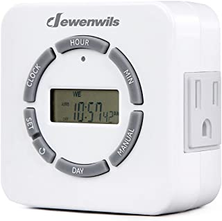 DEWENWILS Indoor Digital Outlet Light Timer, 7 Day Programmable Plug in Lamp Timer with 2 Grounded Outlets for Christmas L...