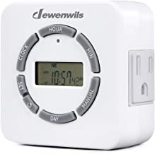 DEWENWILS Indoor Digital Outlet Light Timer, 7 Day Programmable Plug in Lamp Timer with 2 Grounded Outlets for Christmas Light/Grow Light/Aquarium/Holiday, 1/2 HP, ETL Listed