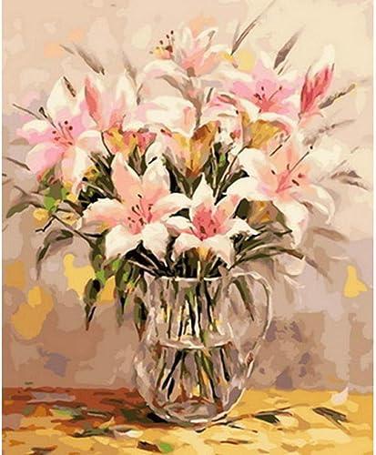 Waofe Peinture Par Numéros Bricolage Peinture à L'Huile Sur Toile Pour La Décoration Intérieure Peinture Animale Lys Rose- With Frame3