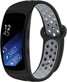 Band Compatible Gear Fit2 Pro /Fit2, Kmasic Silicone Sport Replacement Strap for Samsung Gear Fit 2 Pro & Fit 2, Black/Gray