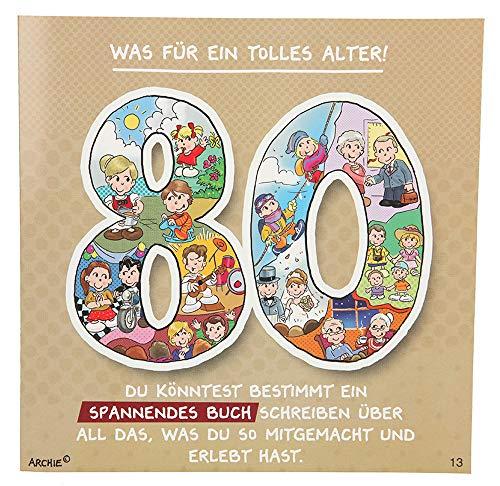 Depesche 3865.013 Glückwunschkarte mit Musik und Motiv von Archie, 80. Geburtstag