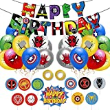 Yisscen Superheld Luftballons, Latex Ballons mit Bändern, Superhelden Banner, Superhelden Party Dekoration, Ballon Set Party Gefälligkeiten für Kinder Geburtstag