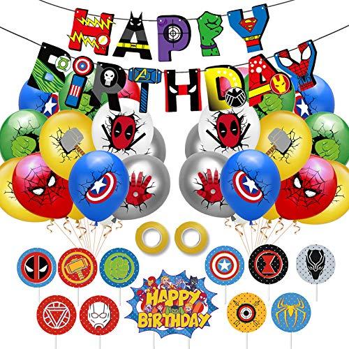 Yisscen Ballons de super-héros, ballons en Latex avec rubans, bannières de super-héros, décorations de fête de super-héros, ensemble de ballon d'anniversaire pour enfants