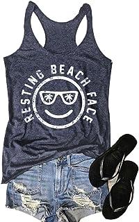 ea1b084cba Mk Shop Limited Women's Resting Beach Face Sleeveless Funny Workout Tank  Top T-Shirt