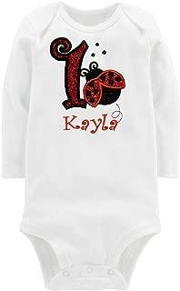 Embroidered Ladybug First Birthday Onesie Glitter Ladybug Personalized with Custom Name