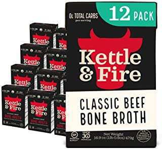 Beef Bone Broth by Kettle and Fire, Pack of 12, Keto Diet, Paleo Friendly, Whole 30 Approved, Gluten Free, with Collagen, ...