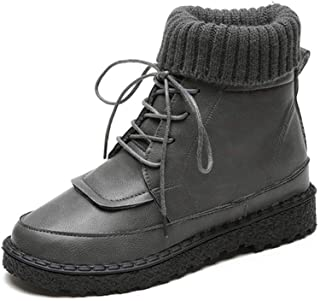 9417157e87ea3 Amazon.com: grey knitted lace up high heel boots faux leather