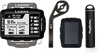 Lezyne Mega XL Bike GPS Bundle | with Silicone Case, Out-Front Mount & PlayBetter Portable Charger (Black, Bundle)