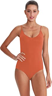 Women Adjustable Strap Bodysuit Sexy Scoop Neck Backless Leotard Jumpsuit Tank Tops