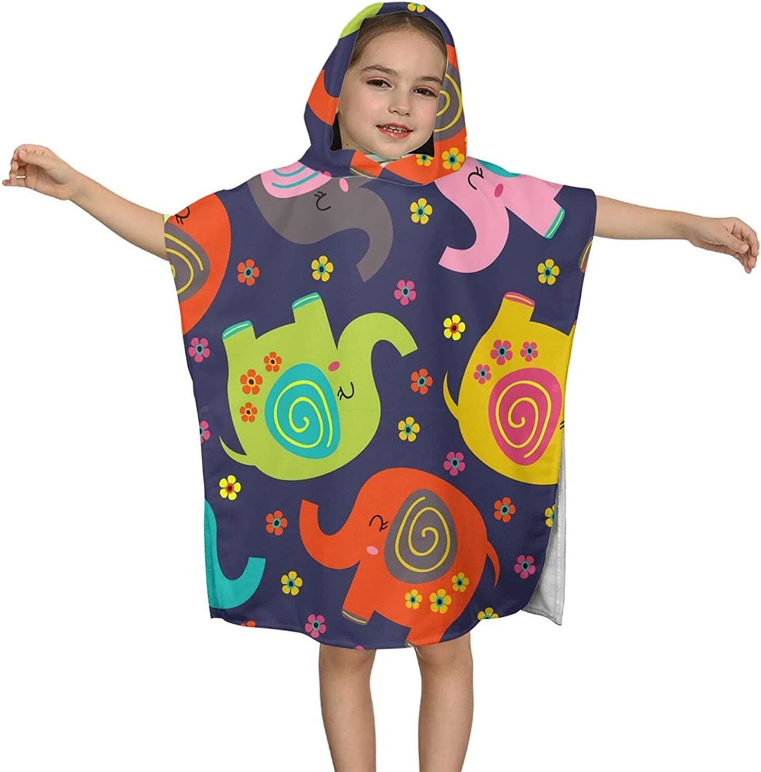 Same day shipping Hooded Bath Towel Cute Colorful Cheap mail order sales Wrap Kids Elephant