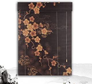 HAIPENG Selected Bamboo Roller Blinds Windows Blind Shade Partition Easy to Install 40cm to 160cm Wide Black Japanese Style (Color : B, Size : 100X200CM)