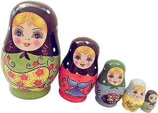 B Blesiya 5pcs Muñecas De Anidación Rusas De Madera Matryoshka Set Niñas Y Flores Pintadas A Mano