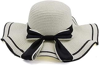 Lady's Sun hat Women Stalk Hat Summer Seaside Holiday New Sunshade Beach Hat Big Along The Hat Bow Sunscreen Sun Hat Sun hat (Color : White, Size : 56-58CM)