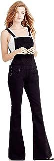 True Religion Women's Karlie Flare Bell Bottom Overall Jeans in Black Sand