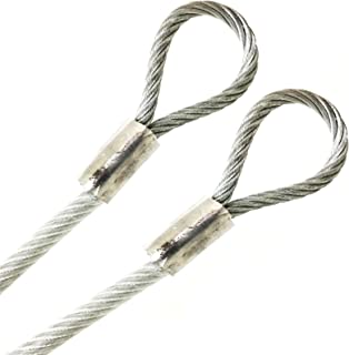 """PSI Single Hoop Clear Custom Cut Stainless Steel 304 Vinyl Coated 3//16 Wire Rope 7x19 Strand 1//8/"""" Core Made to Order Guide Wire Outdoor Clothesline Safety Security Cable 1ft to 300ft"""