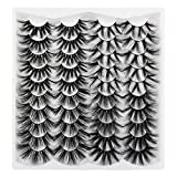 25MM Eyelashes Faux Mink, Calphdiar Fluffy Volume 5D False Eyelashes, Long Dramatic Lashes 20 pairs 4 styles