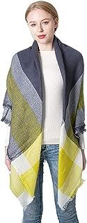 Women's Fall Winter Scarf Plaid Scarves Warm Tartan Wrap Shawl Soft Oversized Shawl Cape