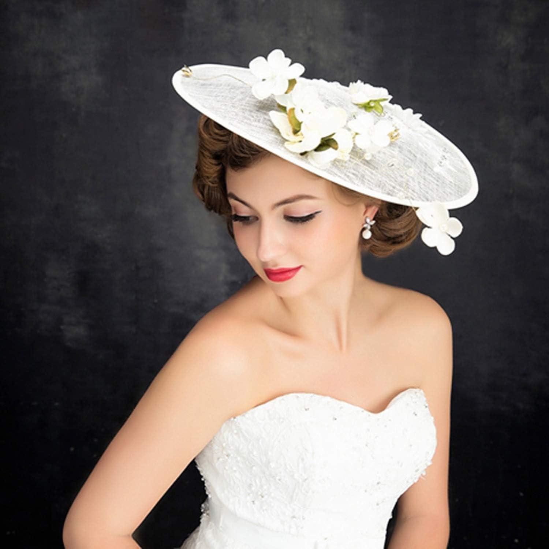 Fascinators Linen Bridal Hat, Fashion Lace Flower Headdress, Studio Mesh Gauze Hat, Sinamay Hat Wedding Headdress, Beige