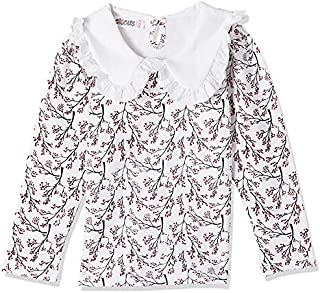 Giggles Patterned Ruffle Neck Detail Long Sleeves T-Shirt for Girls