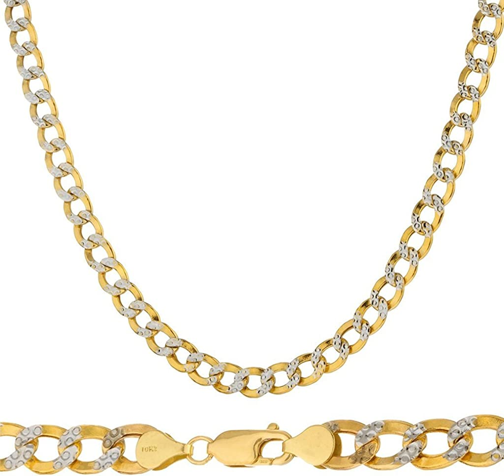 10K Yellow Gold 5mm Thick Cuban Curb Diamond Cut Pave Chain Necklace