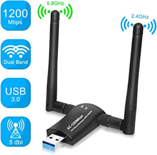 PiAEK Adaptador WiFi USB, 1200Mbps USB 3.0 Dongle WiFi Adaptador Doble Banda con 5dBi Antenas de alta Ganancia 5.8G/2.4G, para PC/Desktop/Laptop/Tablet Compatible con Win XP/Vista/7/8/10 Mac OSX/Linux