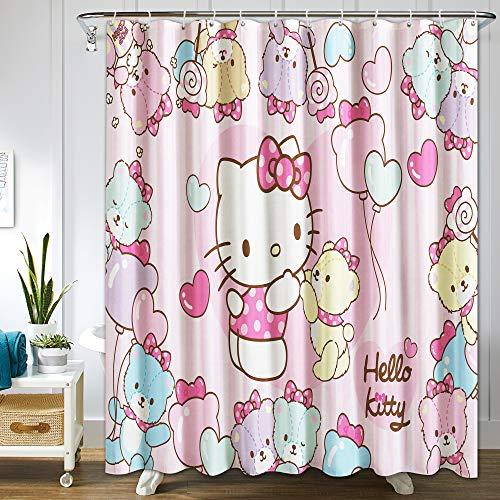 Hello Kitty Duschvorhang Anime Merchandise für Badezimmer, maschinenwaschbar, wasserdichter Stoff, Duschvorhänge mit Haken, 182,9 x 182,9 cm