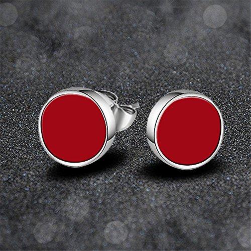 skyllc Pendientes del círculo de la Moda Negro del Acero Inoxidable Pernos prisioneros cristalinos para niñas de Color Rojo